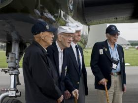 (from left)  Lt. Col. Richard E. Cole, Maj. Thomas C. Griffin (deceased),  Staff Sgt. David J. Thatcher and Lt. Col. Edward J. Saylor at the 70th Anniversary Reunion of the Doolittle Raiders in 2012.