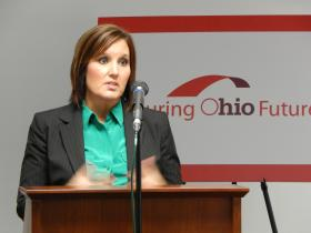 """Lieutenant Governor Mary Taylor speaks about """"Insuring Ohio Futures"""" at Wright-Patterson Air Force Base."""
