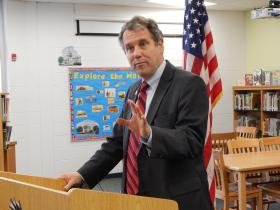 U.S. Sen. Sherrod Brown (D-OH) speaks about the importance of EpiPens at Dayton's River's Edge Montessori.