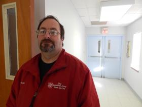 Paul Whaley with the Salvation Army of Clark County staffed the Springfield emergency shelter overnight Sunday night.