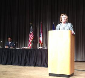 Mayor Whaley addresses crowd at Dayton Convention Center