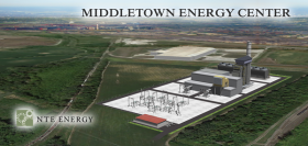 A sketch of the proposed natural gas power plant in Middletown.