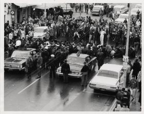 A 1963 demonstration in Yellow Springs over efforts to integrate a white-owned barbershop that wouldn't serve black customers.