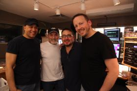 The Eric Jerardi Band in studio with Shakin' Dave