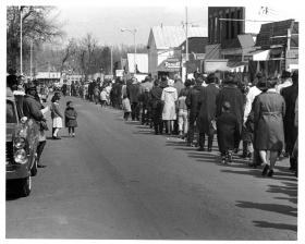 Local citizens marched in support of the Civil Rights movement nationally and in support of progress in Yellow Springs in the early 1960s.