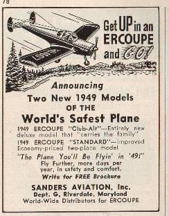 An advertisement for the 1949 Ercoupe.