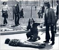 Mary Ann Vecchio kneeling above slain student Jeffrey Miller in the Pulitzer Prize-winning photograph taken by Kent State University photojournalism student John Filo, May 4, 1970.
