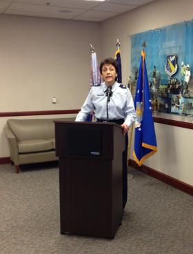 Col. Cassie Barlow at a 2013 press conference.
