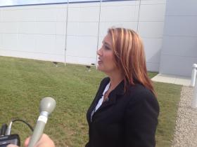 Lt. Governor, Mary Taylor speaks with reporters following the ribbon cutting ceremony.