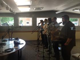 Home Free performing in the WYSO studios