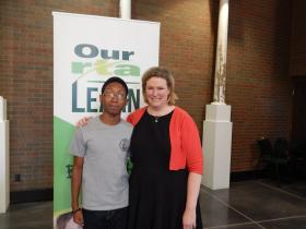 Belmont High School student Chico Rucker with Dayton Mayor Nan Whaley