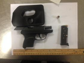 The .380 caliber Ruger TSA officials confiscated Sunday at James M. Cox International Airport in Dayton. The Weapon was found with 7 rounds - 6 in the magazine and 1 chambered.