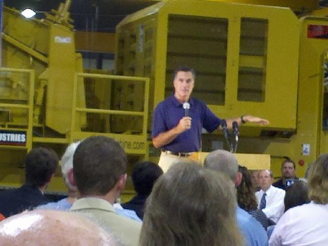 Former Governor Mitt Romney speaks at Screen Machine Industries in Ohio.