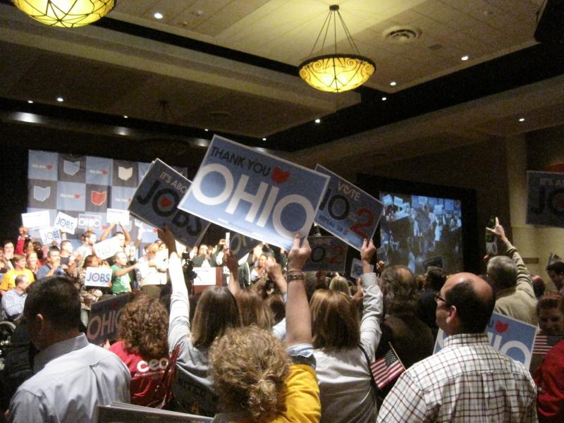 Celebration at an Vote No on Issue 2 Rally
