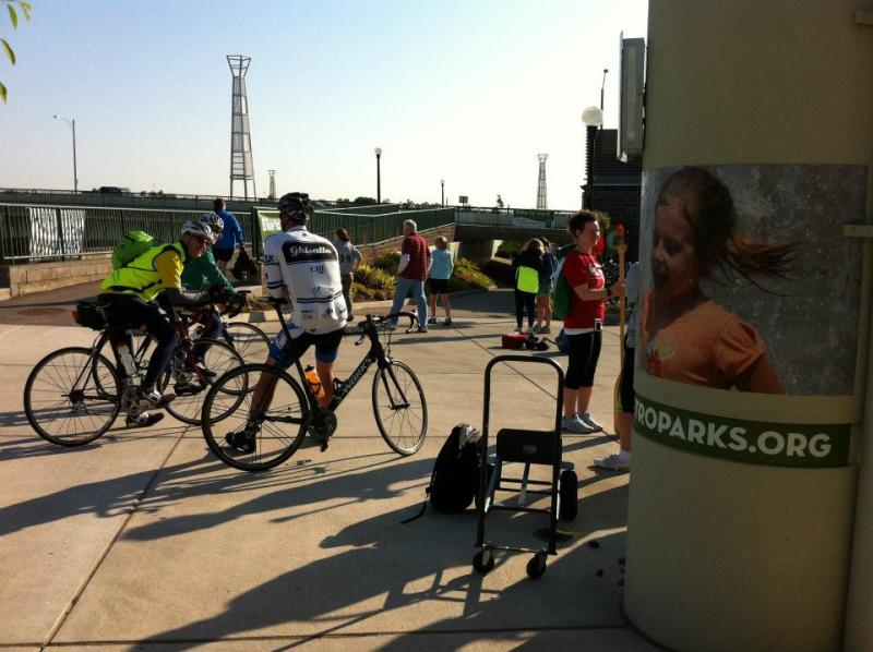 Cyclists at River Scape Metropark on Bike to Work Day