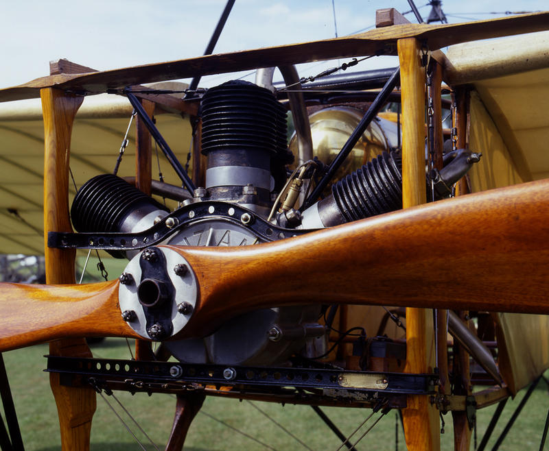 At the Shuttleworth Collection in the UK, this Bleriot IX is nearly identical to the aeroplane Louis Bleriot flew across the Channel.  The temperamental Anzani three-cylinder motor.