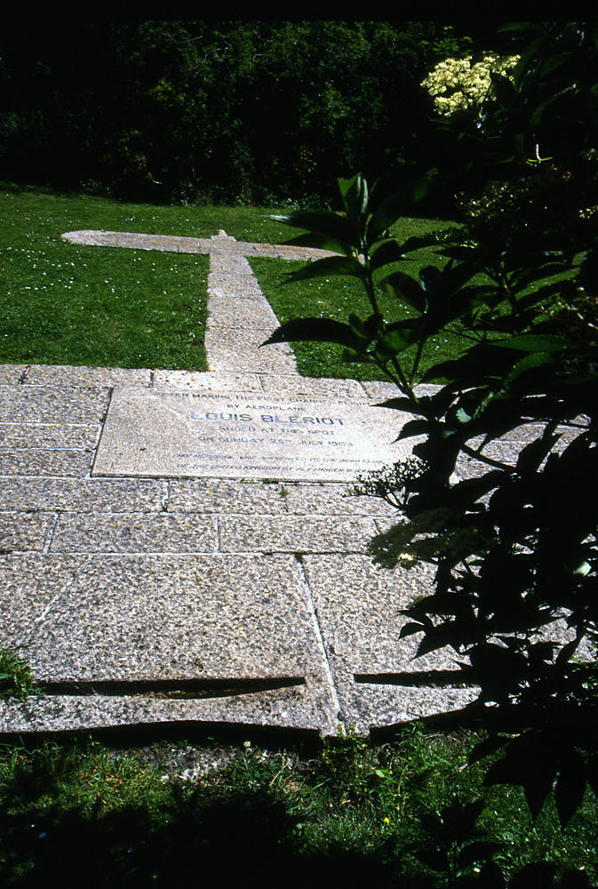 The stone marker at the base of Dover Castle, the outline of Bleriot's craft traced onto the ground exactly where he came to earth.
