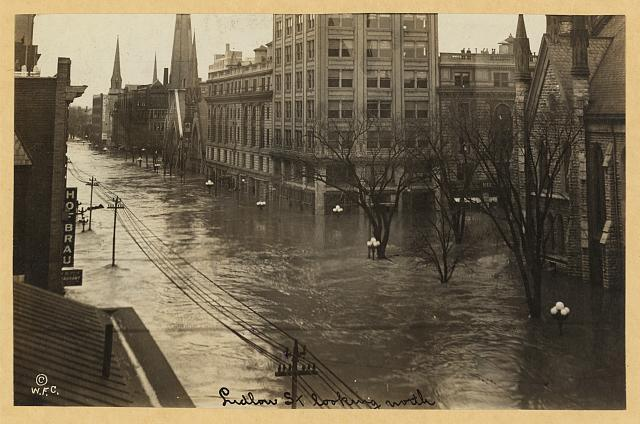 Ludlow Street looking North during the Great Dayton Flood of 1913