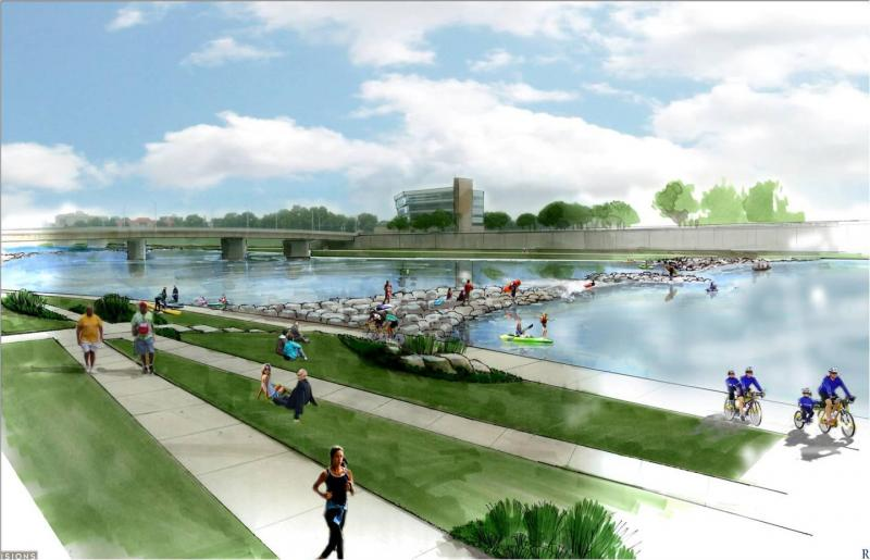An artist's rendering of the RiverScape River Run project.