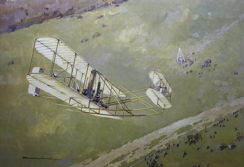 French painting done in 1908.  The artist was in a balloon to see Wilbur from above.