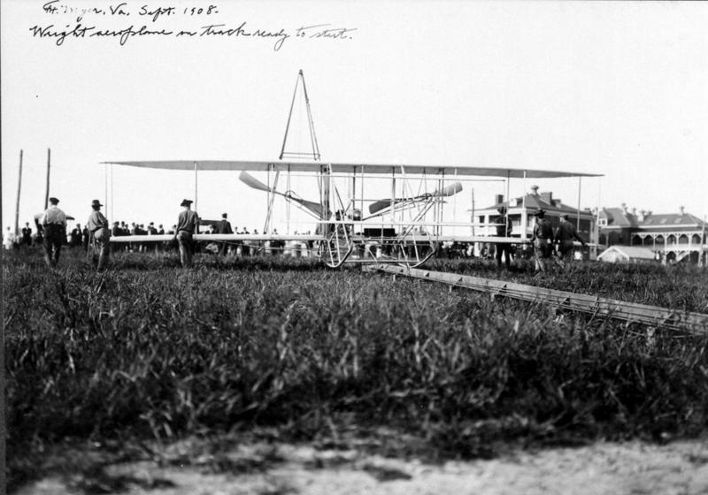 The Flyer on the launch rail, the catapult behind the aeroplane.