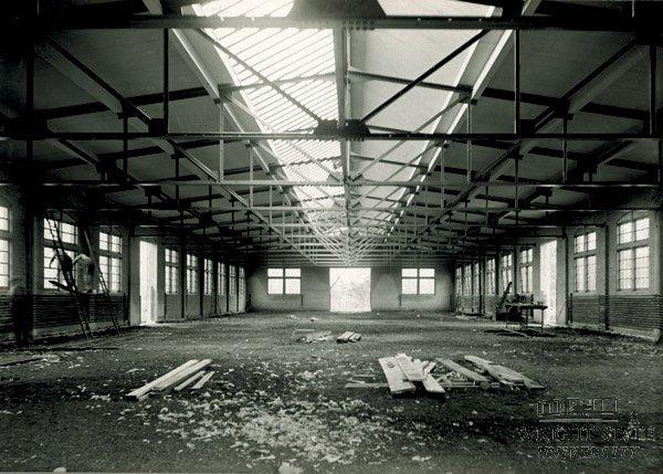 Interior view of the Wright Company factory under construction.