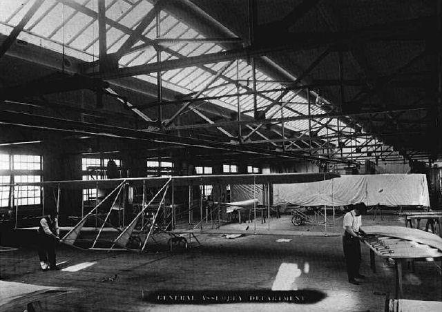 A Wright Model B taking shape in the Assembly Room of the Wright Company.