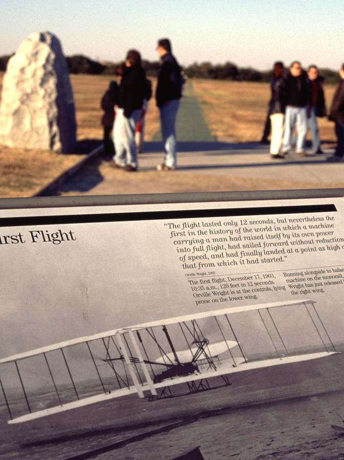 The point of flight, where the Flyer lifted from the sands and cast the shadow seen in the photograph.
