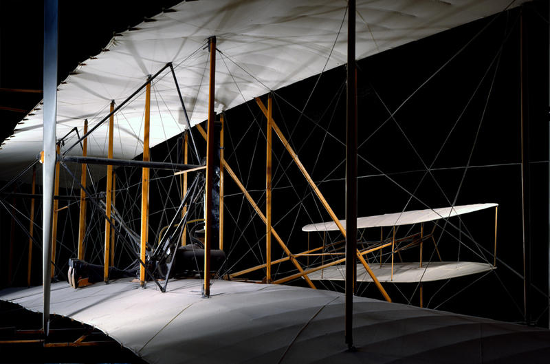 This image of the 1903 Flyer was made at the National Air & Space Museum in 2000 and shows the Flyer as Wilbur would have seen it leave the ground at 10:35am, with his brother Orville piloting