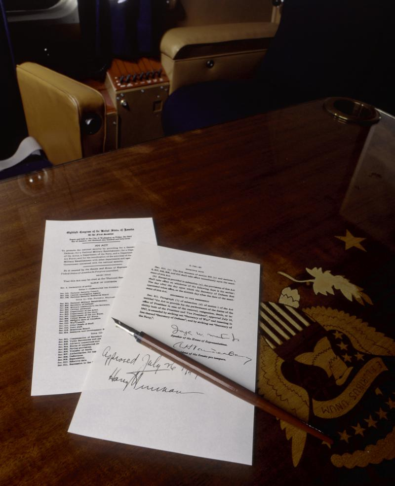 USAF Documents, Harry Truman used this pen to sign these documents on the conference table in the C-54 Sacred Cow.
