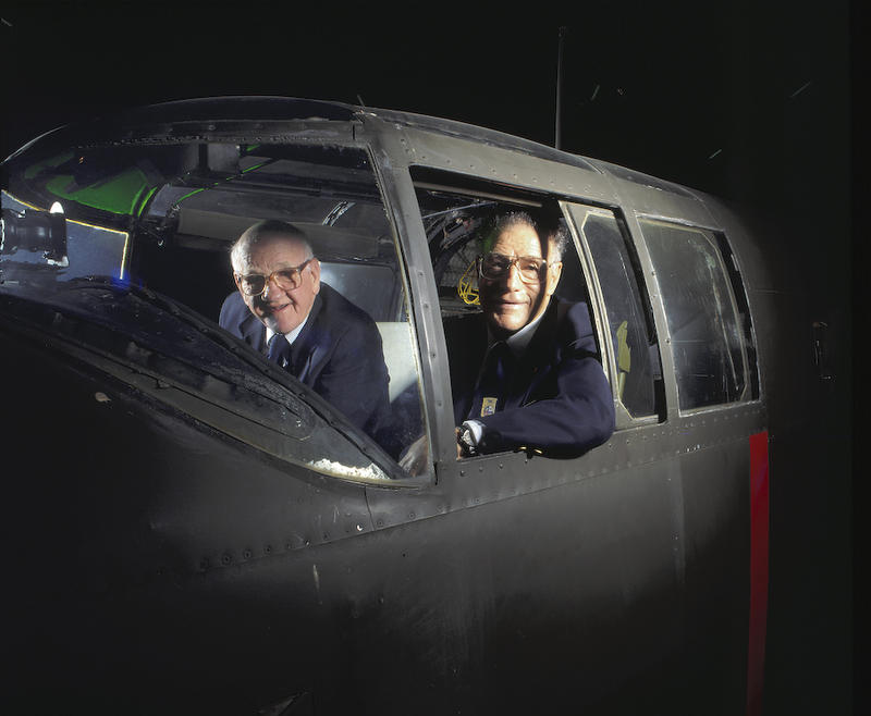 Made in 1995. Tom Griffin on the left in the cockpit of the B-25 on display at the National Museum of the USAF.  On the right is Travis Hoover, pilot of the Number Two B-25.