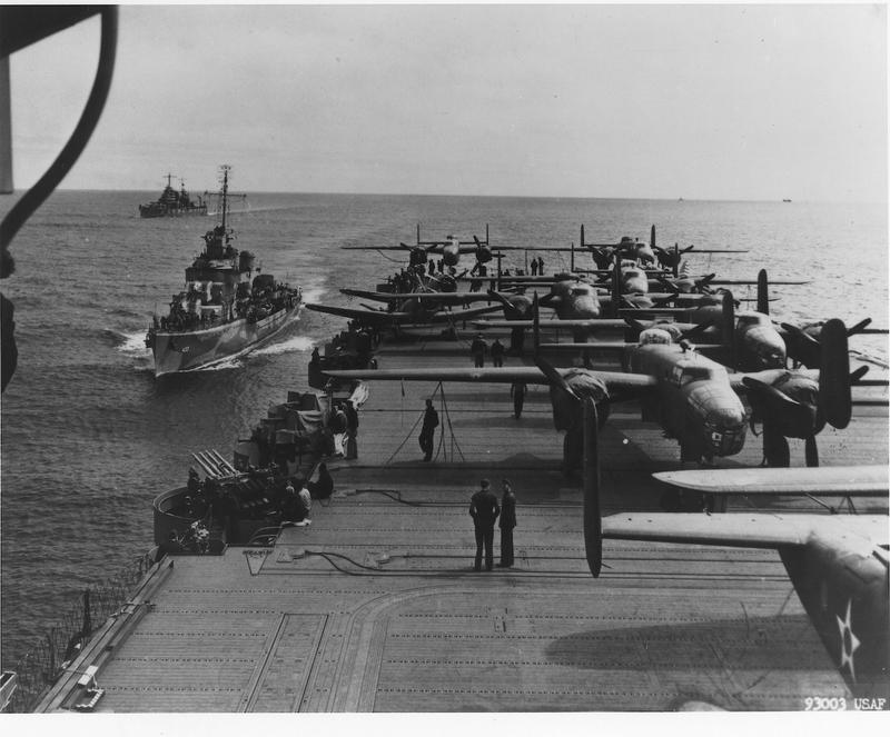 The task force headed for Japan; B-25s on the deck.