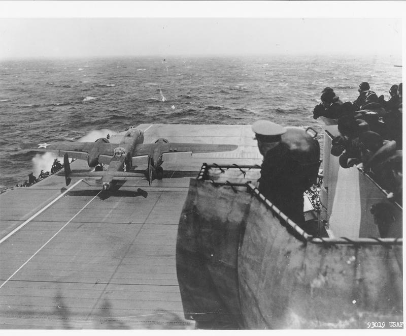 Col. Jimmy Doolittle takes off from the deck of the USS Hornet, April 18, 1942.