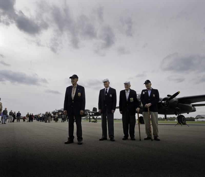 Four of the Raiders in 2012, with a lineup of B-25s at the NMUSAF.  Tom Griffin second from right with cane.