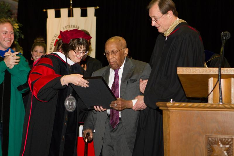 As part of its annual celebration of academic excellence, Wittenberg presented the university's highest non-academic award, the Wittenberg Medal of Honor, to The Honorable William A. McClain, class of 1934.