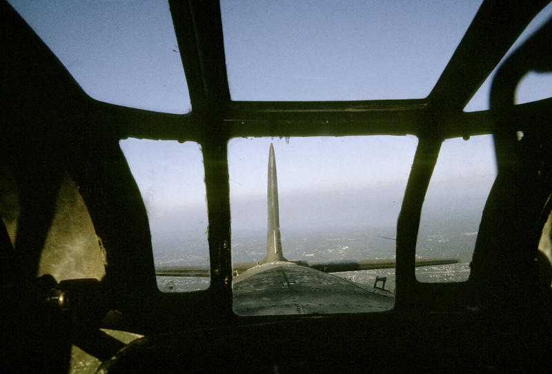 B17 tailgun looking out.  The tailgunner had two .50 caliber machine guns linked to the gunsight seen here.