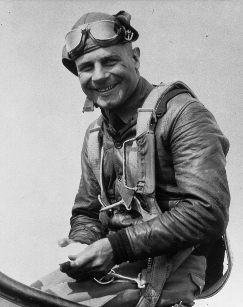 Jimmy Doolittle in his air racing flight jacket.