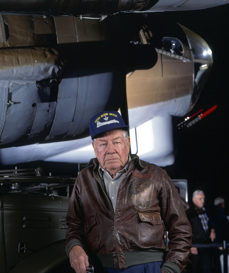 General Tom Jeffrey, former CO of the 100th Bomb Group attended a reunion of the group in Dayton.  After his gruff look in the photo, he grinned from ear-to ear and exclaimed that he could still wear the same jacket some 50 years later