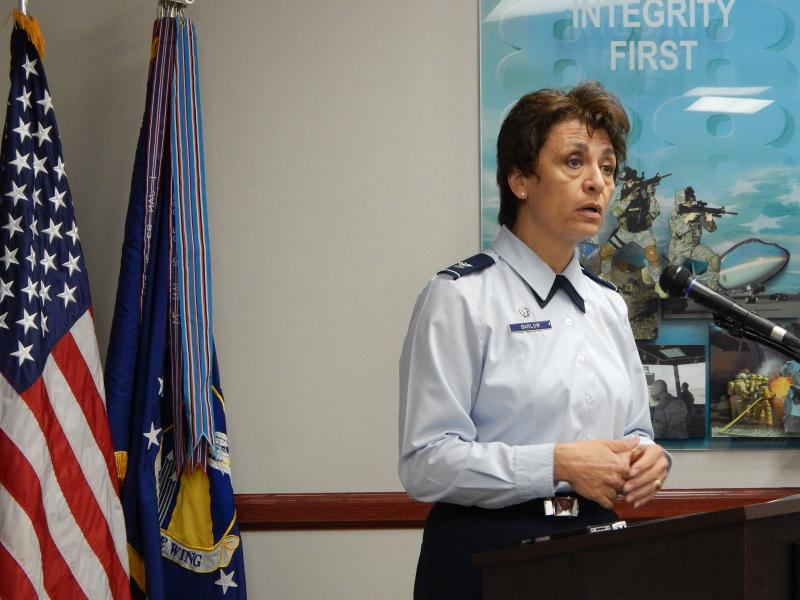 Colonel Cassie Barlow of the 88th Air Base Wing speaks to reporters about a possible emergency furlough.