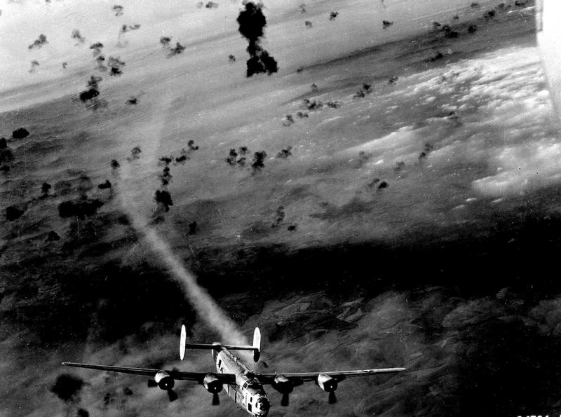 A B-24 Liberator in flight in 1943