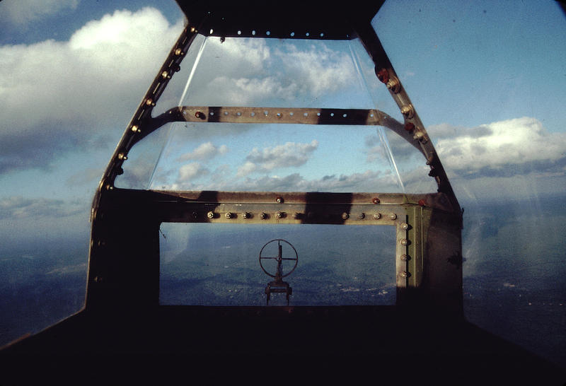 Looking out from the tail gunner's position in the B-17
