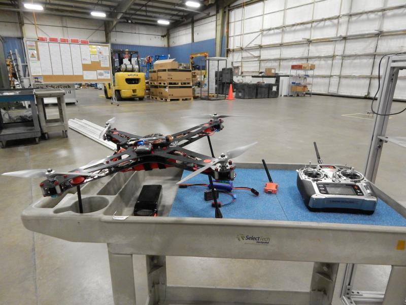 A drone and its remote control.