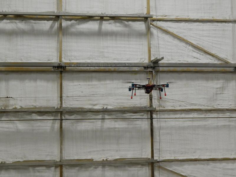 A drone in flight at the SelectTech hangar in Springfield Airpark.
