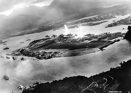 The beginning of the attack, from a Japanese aircraft.