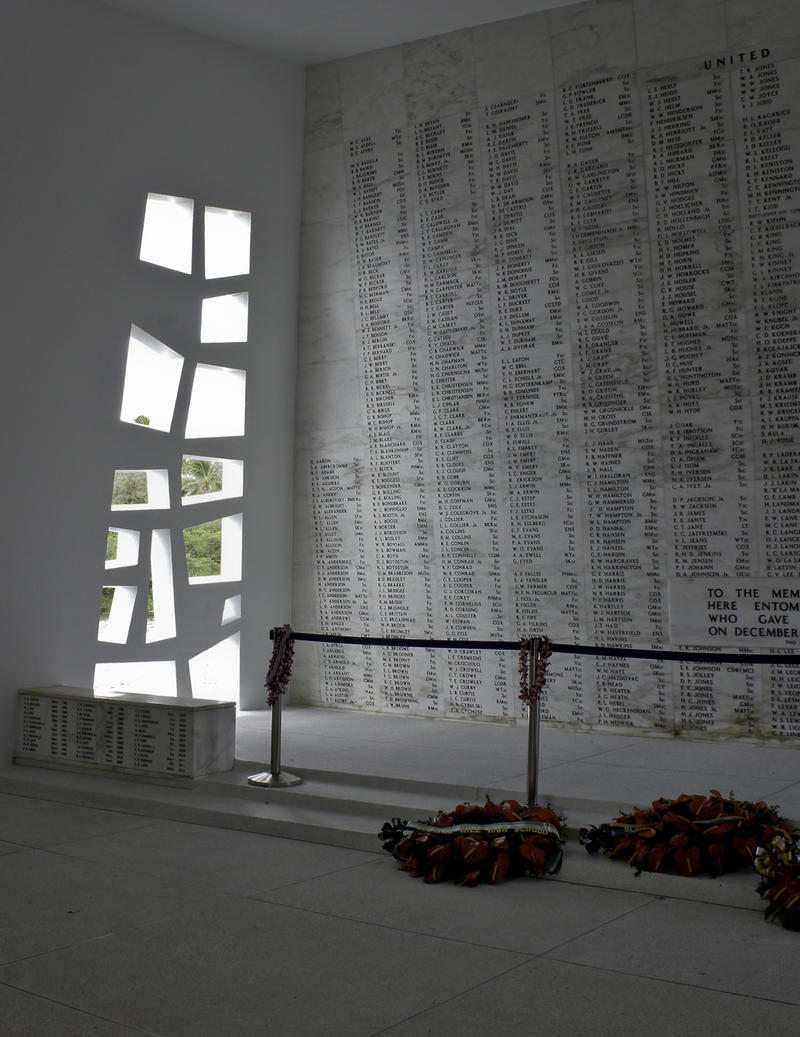Wall of names of the deceased inside the USS Arizona Memorial.