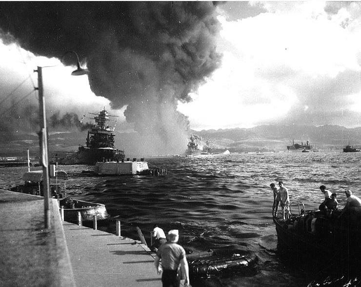 "The view down ""Battleship Row"" in Pearl Harbor on Dec 7, 1941"