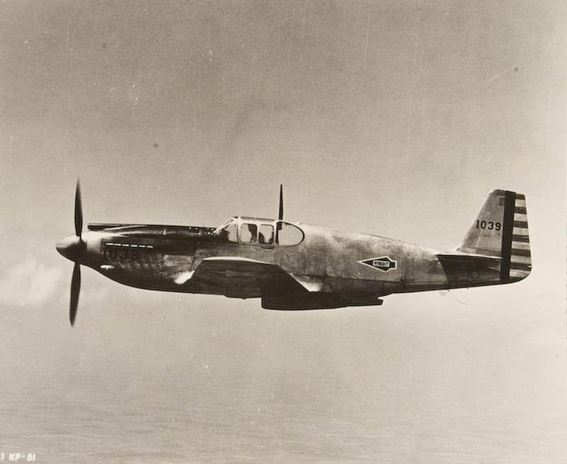 Prototype Mustang being flight tested at Wright Field.