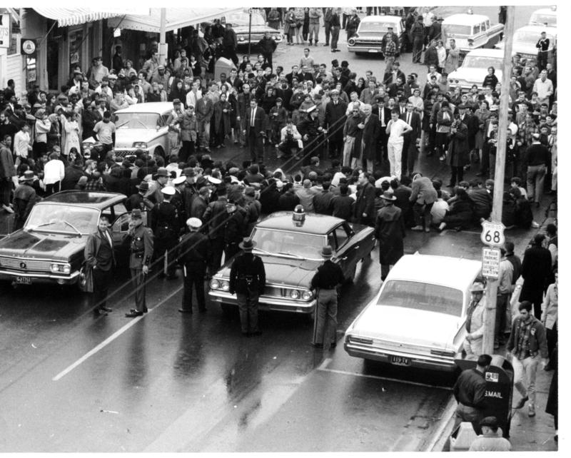 Demonstrators occupy Xenia Ave. in Yellow Springs on March 14, 1964.