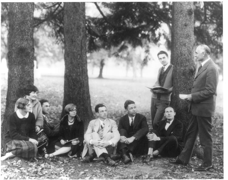 Arthur Morgan teaching his course in Life Aims outdoors on the campus of Antioch College, 1927.