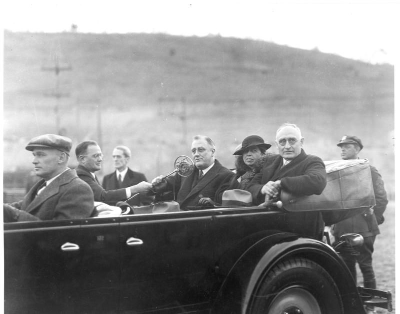 Arthur Morgan with President of the United States Franklin D. Roosevelt and Eleanor Roosevelt at Norris Dam during the president's inspection tour of the Tennessee Valley Authority, 1933.